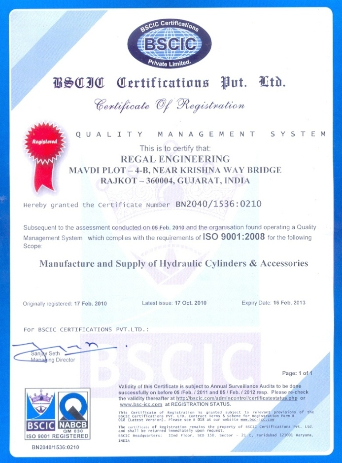 ISO 9001 - Regal Hydraulic